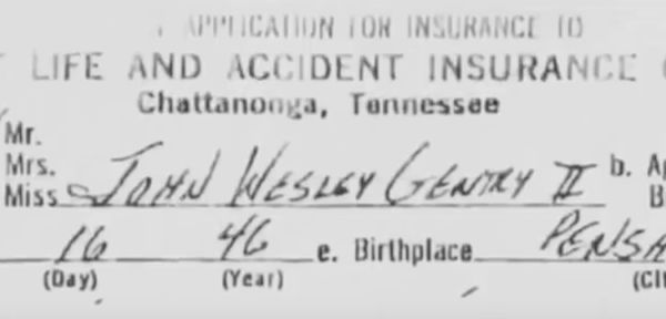 Life insurance policy on John Wesley Gentry II. Source: Death Row Stories