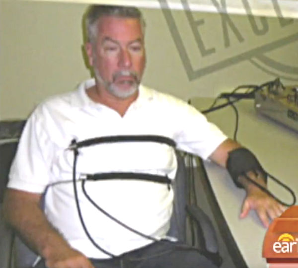 screenshot of Drew Peterson connected to life detector for Drew Peterson Exposed.